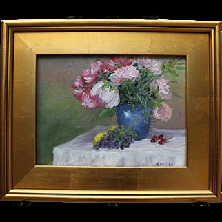 After Lunch-Floral Still Life-Framed 9 X 12 Original Oil Painting-Artist L. Warner