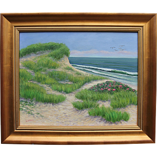 Dune with Roses-Cape Cod Seascape-Framed 16 X 20 Oil Painting-Artist L. Warner