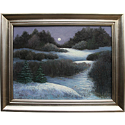 Winter's Whisper-Framed 18 X 24 Original Oil Painting-Artist L. Warner-Moonlit Landscape