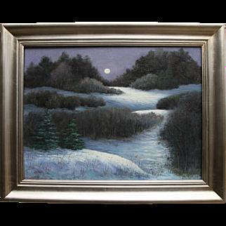 Winter's Whisper-Framed 18 X 24 Original Oil Painting-Artist L. Warner-Moonlit Landscape
