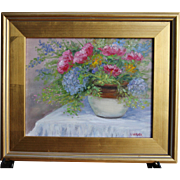 Cottage Bouquet-Framed 11 X 14 Oil Painting-Artist L. Warner-Floral Still Life
