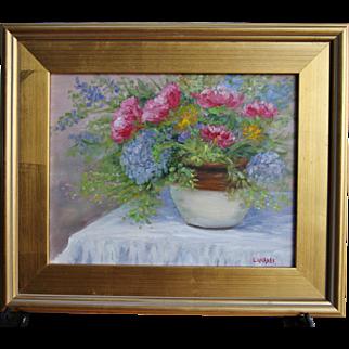 Cottage Bouquet-Framed 11 X 14 Oil Painting-Artist L. Warner-Floral Still Life
