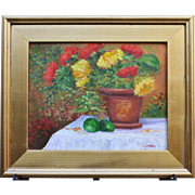 Festive Flower Pot-Framed 11 X 14 Oil Painting-Artist L. Warner-Floral Still Life