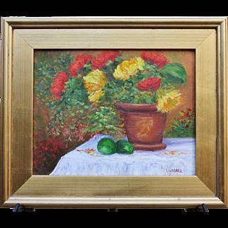 Festive Flower Pot-Framed 11 X 14 Oil Painting-Artist L. Warner-Floral Still Life