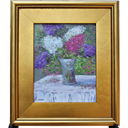 Lilac Bouquet-8 X 10 Framed Oil Painting-Artist L. Warner-Pastel Floral Still Life