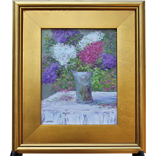 Lilac Bouquet-8 X 10 Framed Oil Painting-Artist L. Warner-Pastel Floral Still Life