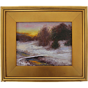 Time to Head Home-Framed 8 X 10 Oil Painting-Artist L. Warner-Snowy Winter Sunset