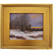 Snowy Fields-Framed 8 X 10 Oil Painting-Artist L. Warner-Sunset in Winter