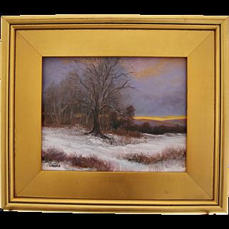 Snowy Fields-Framed 8 X 10 Oil Painting-Artist L. Warner-Sunset in Winter
