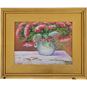 Blushing Bouquet-Framed 9 X 12 Oil Painting-Artist L. Warner-Pitcher & Pink Blossoms