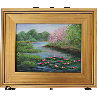 Springtime Reverie-Framed 9 X 12 Oil Painting-Artist L. Warner-Tranquil River with Lilies