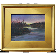 Eventide-Framed 8 X 10 Oil Painting-Artist L. Warner-Sunset Over Marsh