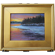 Frozen Cove & Firey Sky-Framed 8 X 10 Oil Painting-Artist L. Warner-Winter Sunset