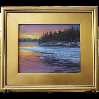 Frozen Cove & Firey Sky-Framed 8 X 10 Oil Painting-Artist L. Warner-Winter Sunset