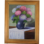 Hydrangeas In Blue Pitcher-Framed 18 X 24 Oil Painting-Artist L. Warner-Floral Still Life