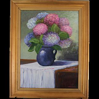 Hydrangeas In Blue Pitcher-Framed 18 X 24 Oil Painting-Artist L. Warner-Floral Still Life