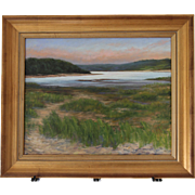Early AM On Blackfish Cove-Framed 16 X 20 Oil Painting-Artist L. Warner-Cape Cod Seascape