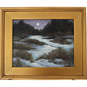 Winter's Hush-Framed 11 X 14 Oil Painting-Artist L. Warner-Moonlit Snowy Landscape