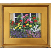 Window Box Bouquet-Framed 8 X 10-Original Oil Painting by L. Warner