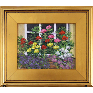 Window Box Bouquet-Framed 8 X 10-Original Oil Painting by L. Warner