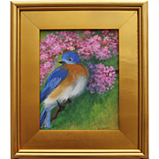 Happy Blue Bird-Framed 8 X 10 Oil Painting-Artist L. Warner-Fluffed Up Feathers