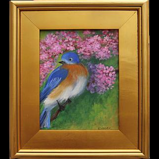 Happy Blue Bird-Framed 8 X 10 Oil Painting-Artist L. Warner