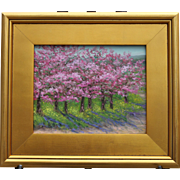 Pink Profusion-Framed 8 X 10 Original Oil Painting-Artist L. Warner-Cherry Trees in Blossom