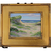 Ocean Path with Roses-Framed 11 X 14 Original Oil Painting-Artist L. Warner-Dune at Beach