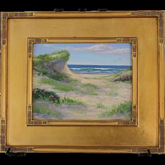 Ocean Path with Roses-Framed 11 X 14 Original Oil Painting-Artist L. Warner-Dune at Beach