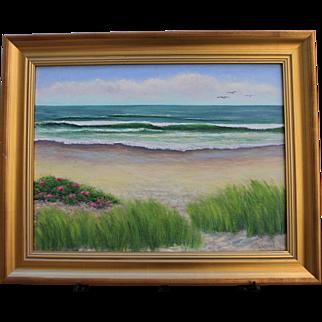 High Tide-Framed 18 X 24 Original Oil Painting-Artist L. Warner-Beach Scene