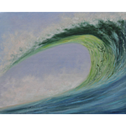 Wave Break-16 X 20 Gallery Wrap Original Oil Painting-Artist L. Warner-View of the Curl