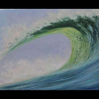 Wave Break-16 X 20 Gallery Wrap Original Oil Painting-Artist L. Warner-View of the Curl