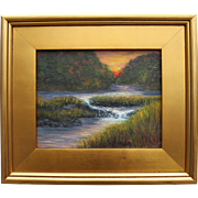 Rushing Water at Sunset-Framed 8 X 10 Original Oil Painting-Artist L. Warner-Overflowing Creek