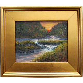 Rushing Water at Sunset-Framed 8 X 10 Original Oil Painting-Artist L. Warner-Overflowing Creek