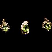 Peridot Jewelry Set-Pierced Earrings & Pendant-Vermeil