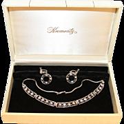 Krementz Boxed Set-Screwback Hoop Earrings-Choker Necklace-Brilliant Crystals