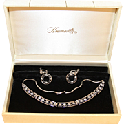 "Krementz Boxed Set-Sparkling Necklace & Screwback Hoop Earrings-Bright and Very ""In"""