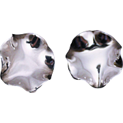 Sterling Earrings-Clips-Liquid Silver Wavy Design-Superb!