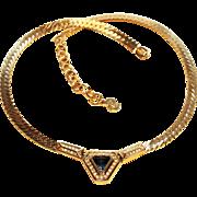Dior Necklace-Brilliant Blue Center-Mint Condition-Signed Chr. Dior