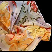 Adolfo Silk Scarf-35 Inches Square-Vintage Floral & Fruit Design