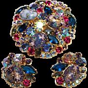 Juliana-DeLizza & Elster Set-Blue/Gold Easter Egg-/Brooch & Clip Earrings