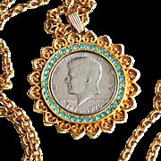 JFK Coin Pendant-1776-1976 Bicentennial Half Dollar Coin-Beautiful Kennedy Portrait