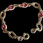 """Pink Link Bracelet-Vintage Gold Filled 1/20th 12KT-7"""" of Charm"""
