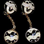 Designer Dangle Earrings-1980's Black & White Enamel-French & Fun!