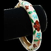 Capri Bangle Bracelet-Floral Enamel Design-Beautiful & Fun