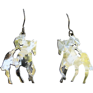 Equestrian Pierced Earrings-Left & Right Riders-Large & Luminous!