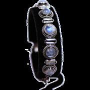 "Moonstone Link Bracelet-11 Blue Flash Cabochons-71/2"" Long-A Beauty!"