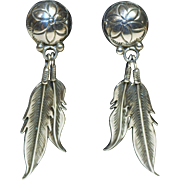 """Western Feather Pierced Earrings-Over 2"""" Drop-Ethereal Gift From Nature"""