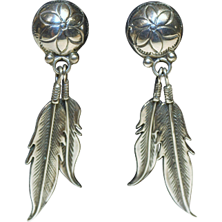 "Western Feather Pierced Earrings-Over 2"" Drop-Ethereal Gift From Nature"