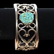 Native American Bangle Bracelet-Turquoise Center-Signed RA Sterling-Beautiful Romantic Swirl Design